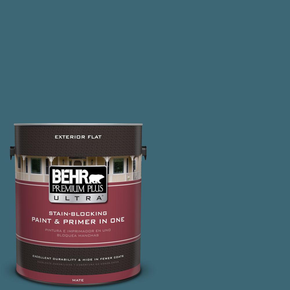 BEHR Premium Plus Ultra 1-gal. #PMD-45 Teal Mosaic Flat Exterior Paint