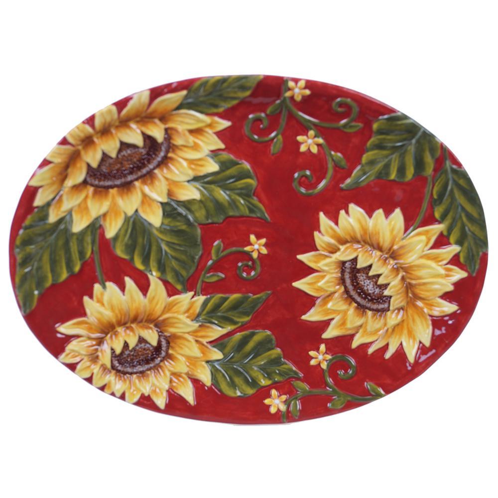 Sunset Sunflower Ceramic Oval Platter