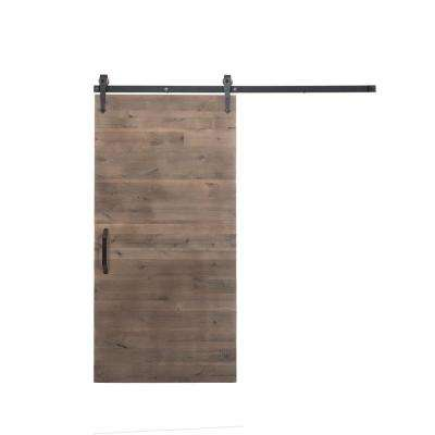 42 in. x 84 in. Rustica Reclaimed Home Depot Gray Wood Barn Door with Arrow Sliding Door Hardware Kit