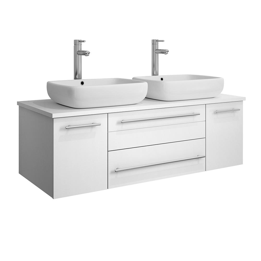 Fresca Lucera 48 in. W Wall Hung Bath Vanity in White with Quartz Stone Vanity Top in White with White Basins