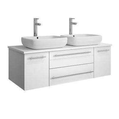 Lucera 48 in. W Wall Hung Bath Vanity in White with Quartz Stone Vanity Top in White with White Basins