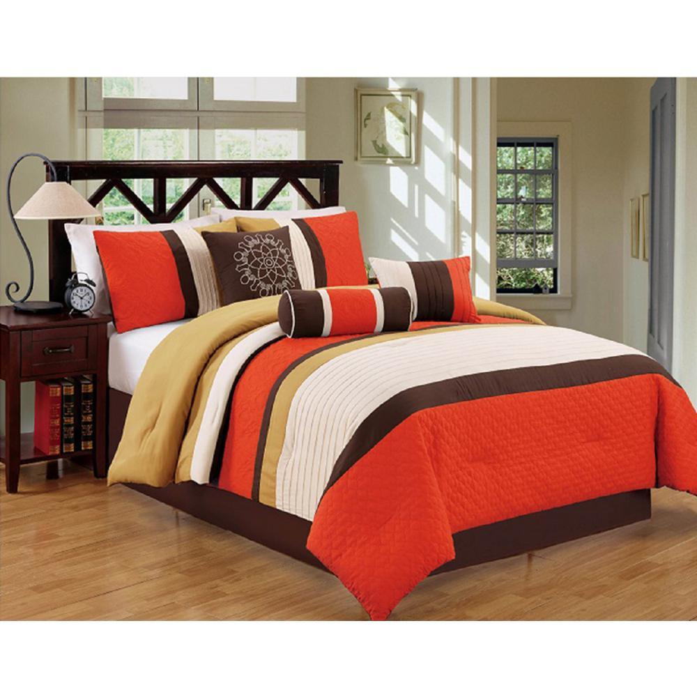 Evolution Orange Striped 7-Piece Queen Comforter Set