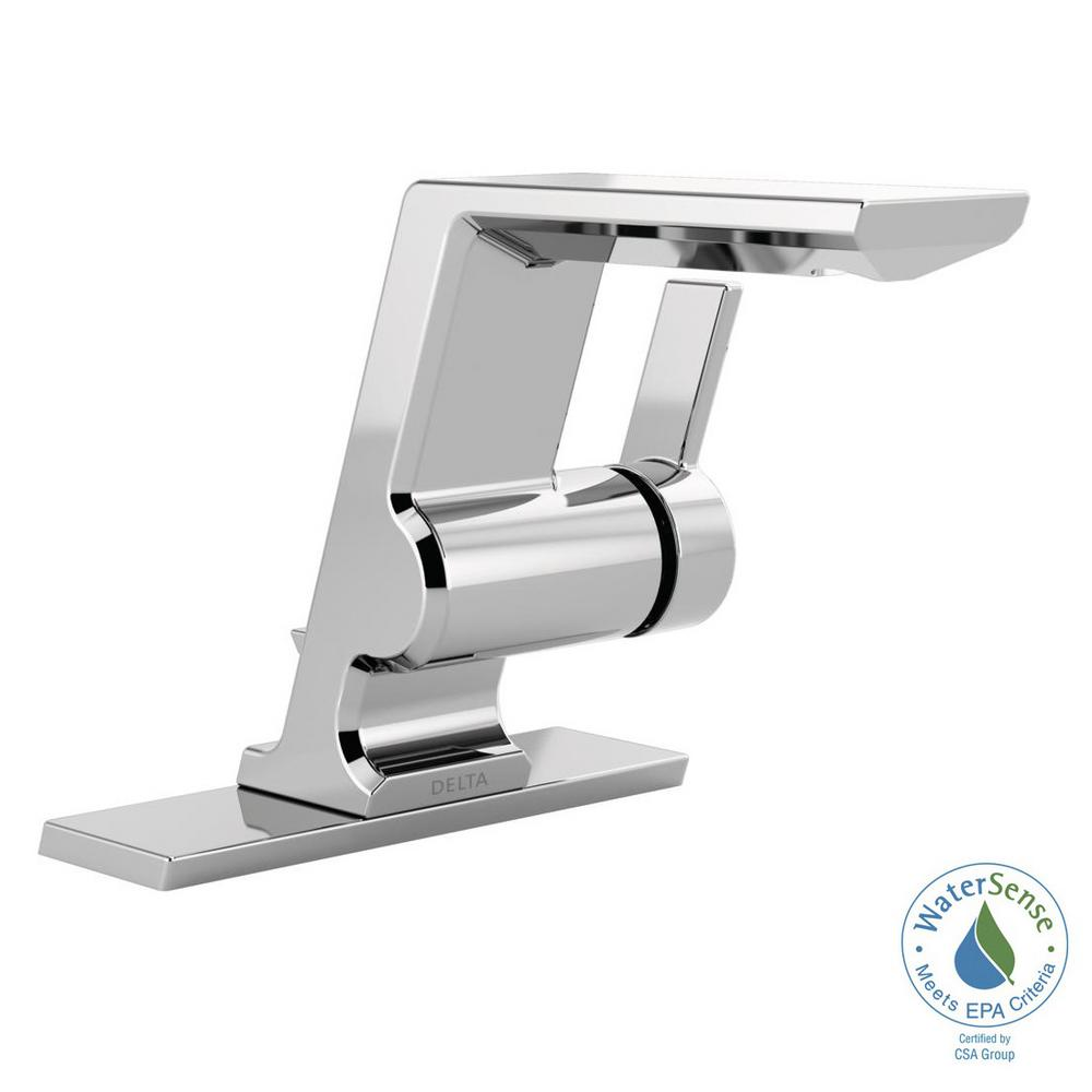 Delta Pivotal Single Hole Single-Handle Bathroom Faucet with Metal Drain Assembly in Chrome
