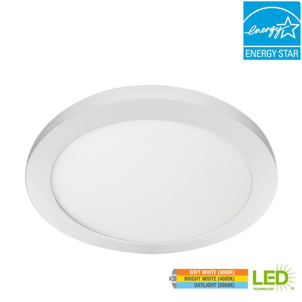 Commercial Electric 11 in. 12.5W Dimmable White Integrated LED Edge-Lit Round Flat Panel Flush Mount Ceiling Light with Color Changing CCT
