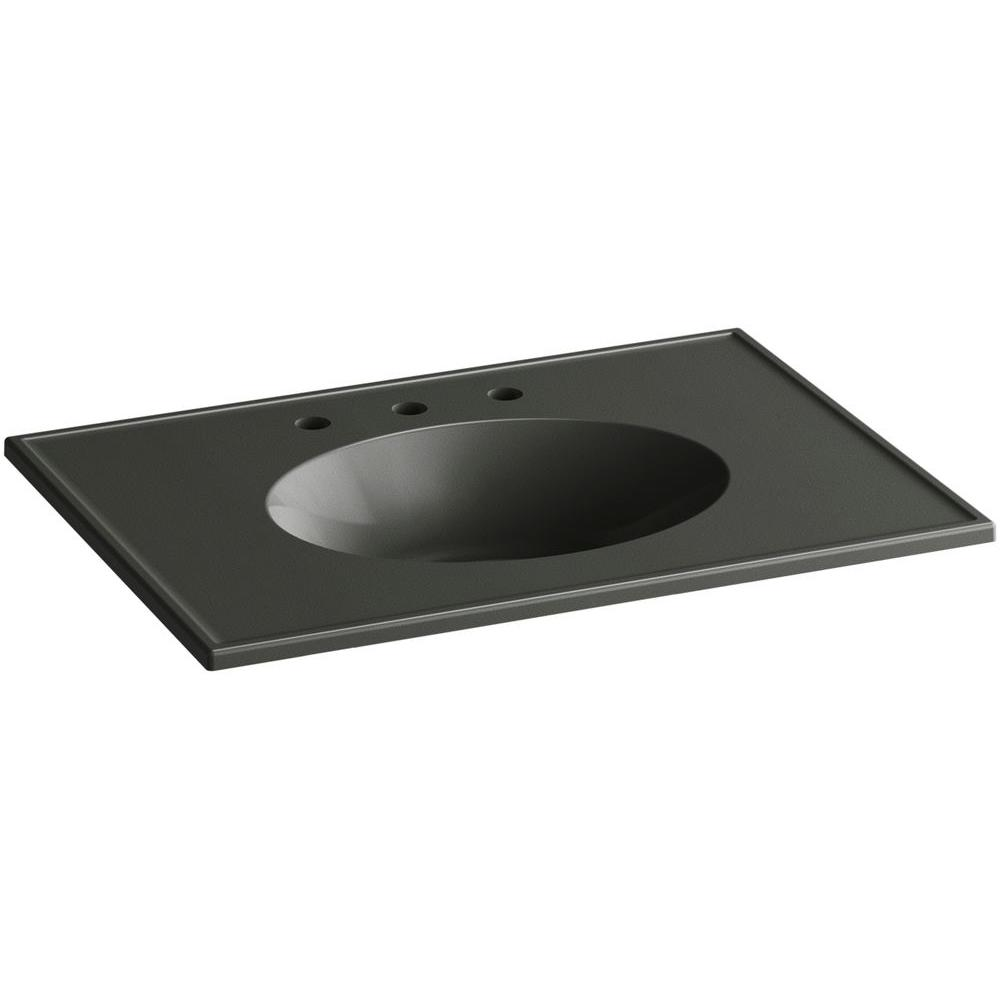 Ceramic/Impressions 31 in. Vitreous China Vanity Top with Basin in Thunder