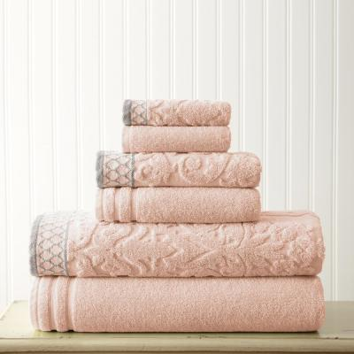 6-Piece Peach Damask Jacquard Towels Set with Embellished Border