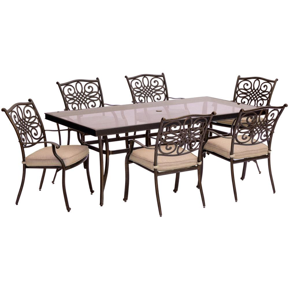 Traditions 7 piece aluminum outdoor dining set with rectangular glass top table with natural oat cushions