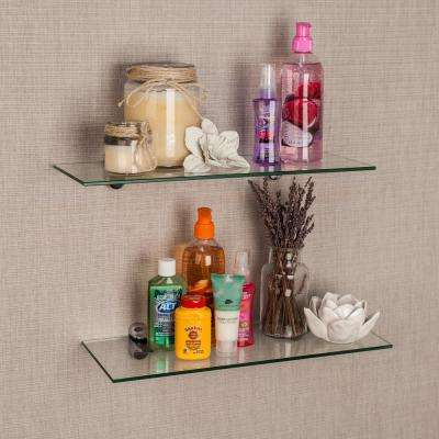 Pristine 16 in. W x 2 in. H. Clear Glass Floating Shelves with Chrome Brackets (Set of 2)