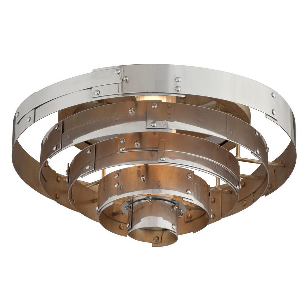 Mitchel Field 18-Watt Vintage Aluminum Integrated LED Flushmount