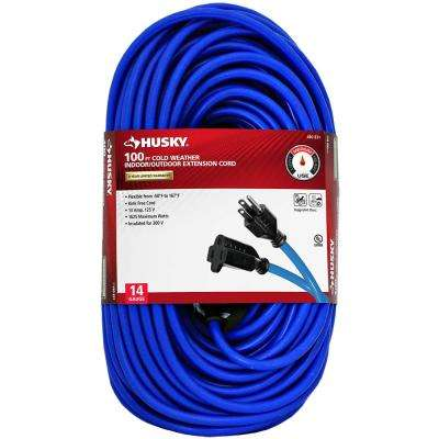 100 ft. 14/3 (-50°) Cold Weather Indoor/Outdoor Extension Cord, Blue