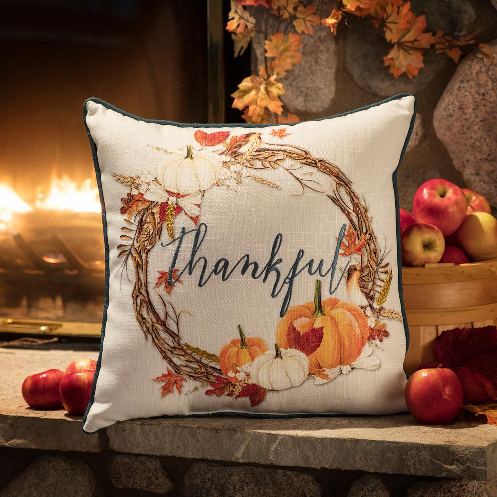 Home Accents Holiday Harvest Wreath White/Orange Decorative Pillow