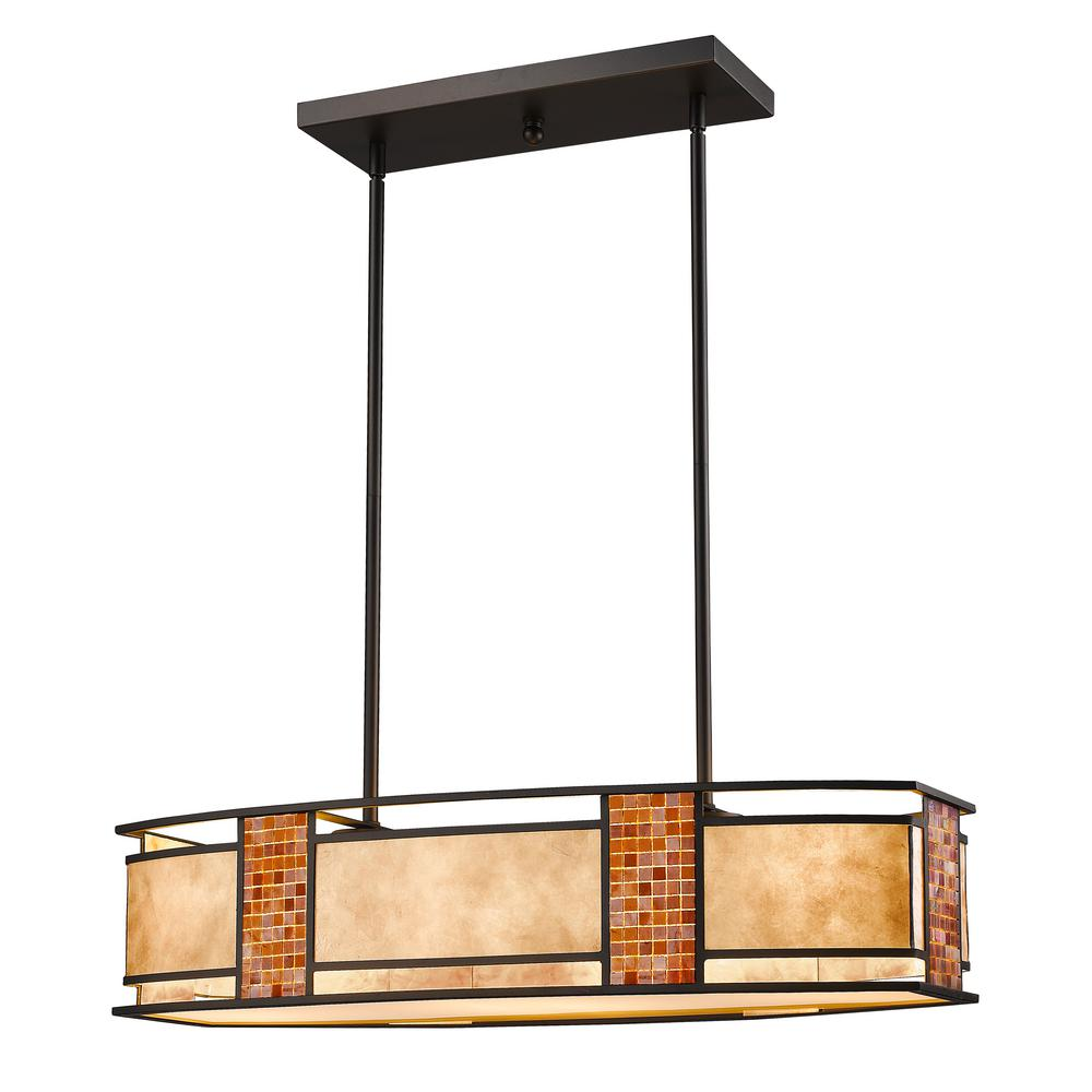 Brooke 4-Light Bronze Hanging Pendant with Multi-Colored Tiffany Glass Shade