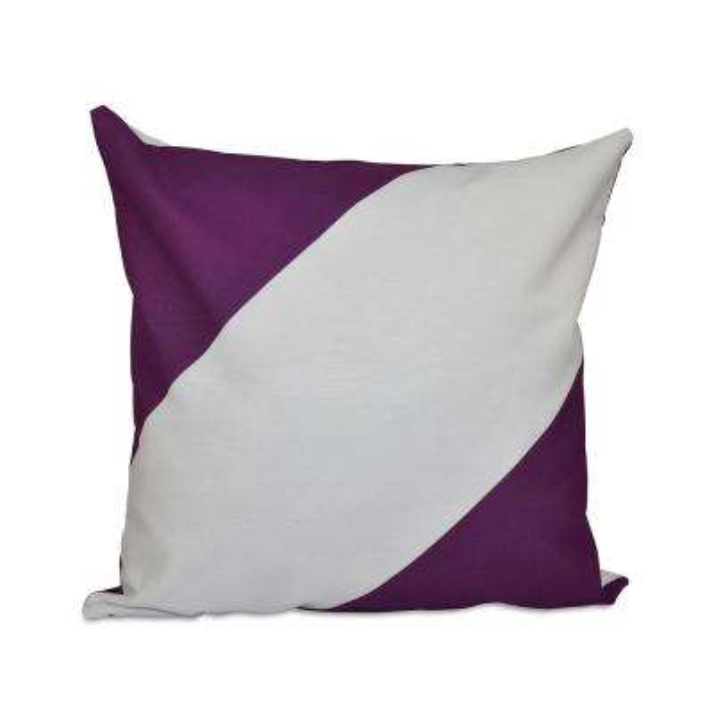 16 in. x 16 in. Bold Stripe Decorative Pillow in Purple