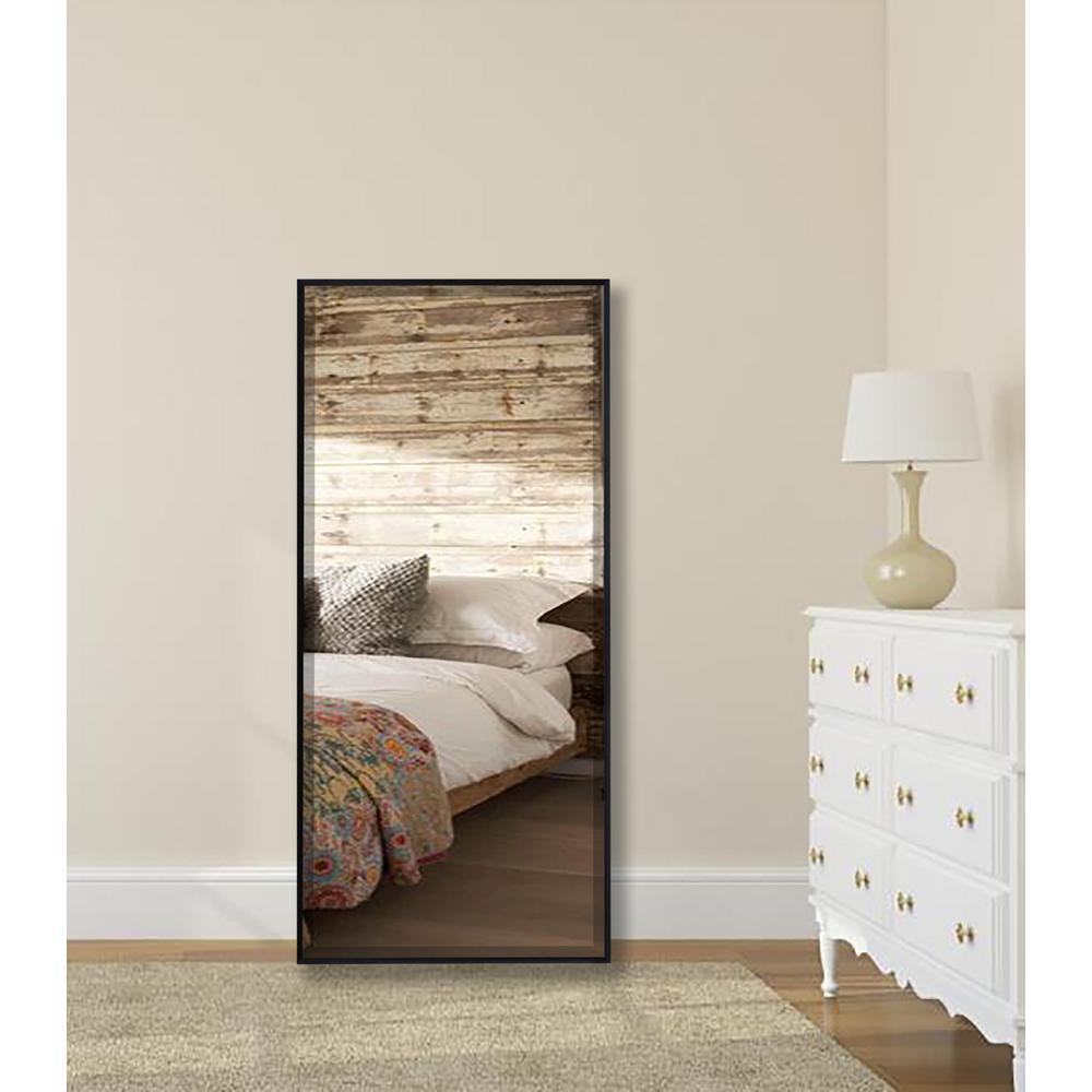 Rayne Mirrors 65 625 in  x 25 125 in  Ebony Metal Framed
