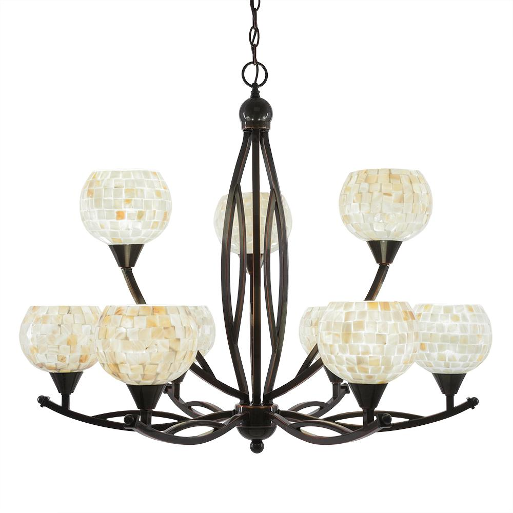 Filament Design 9-Light Black Copper Chandelier with 6 in. Mystic Seashell Glass