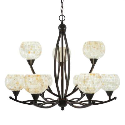 9-Light Black Copper Chandelier with 6 in. Mystic Seashell Glass