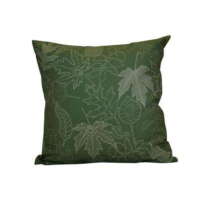 16 in. x 16 in. Dotted Leaves, Floral Print Pillow, Green