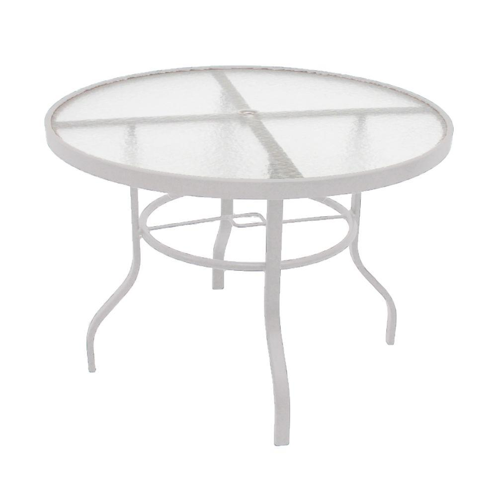 Marco island 42 in white acrylic top commercial metal for White patio table
