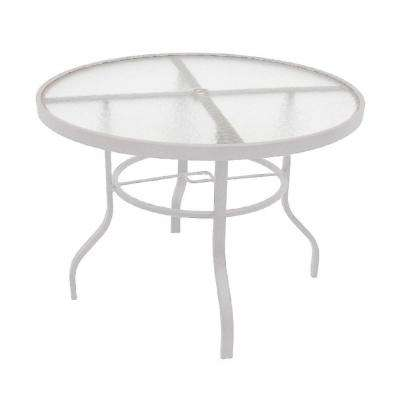 Marco Island 42 In White Acrylic Top Commercial Metal Outdoor Patio Dining Table