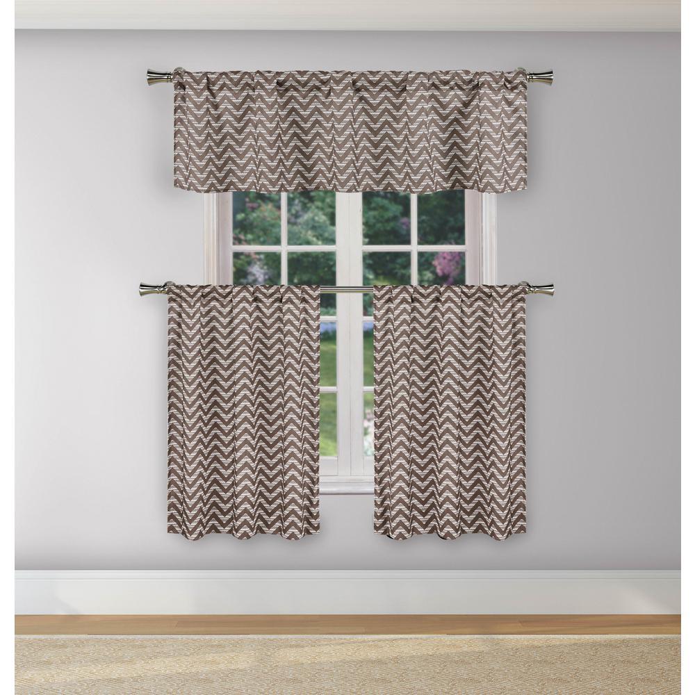 Ayeris Chocolate Room Darkening Kitchen Curtain Set - 29 in. W x 36 in. L (3-Piece)