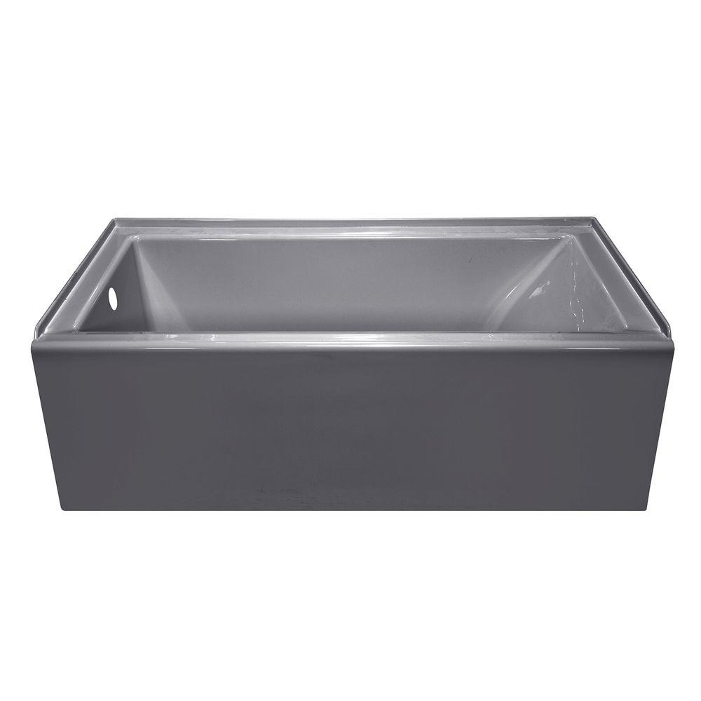 Lyons Industries Linear 5 ft. Left Drain Soaking Tub in Silver Metallic