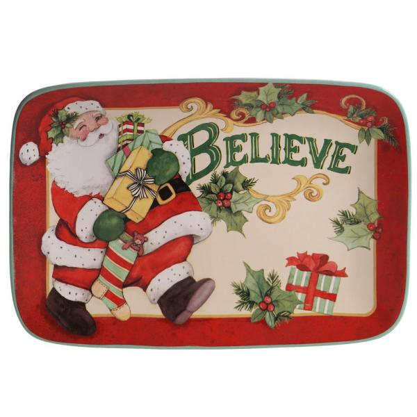 Certified International Believe Multi-Colored 14 in. Earthenware Rectangular