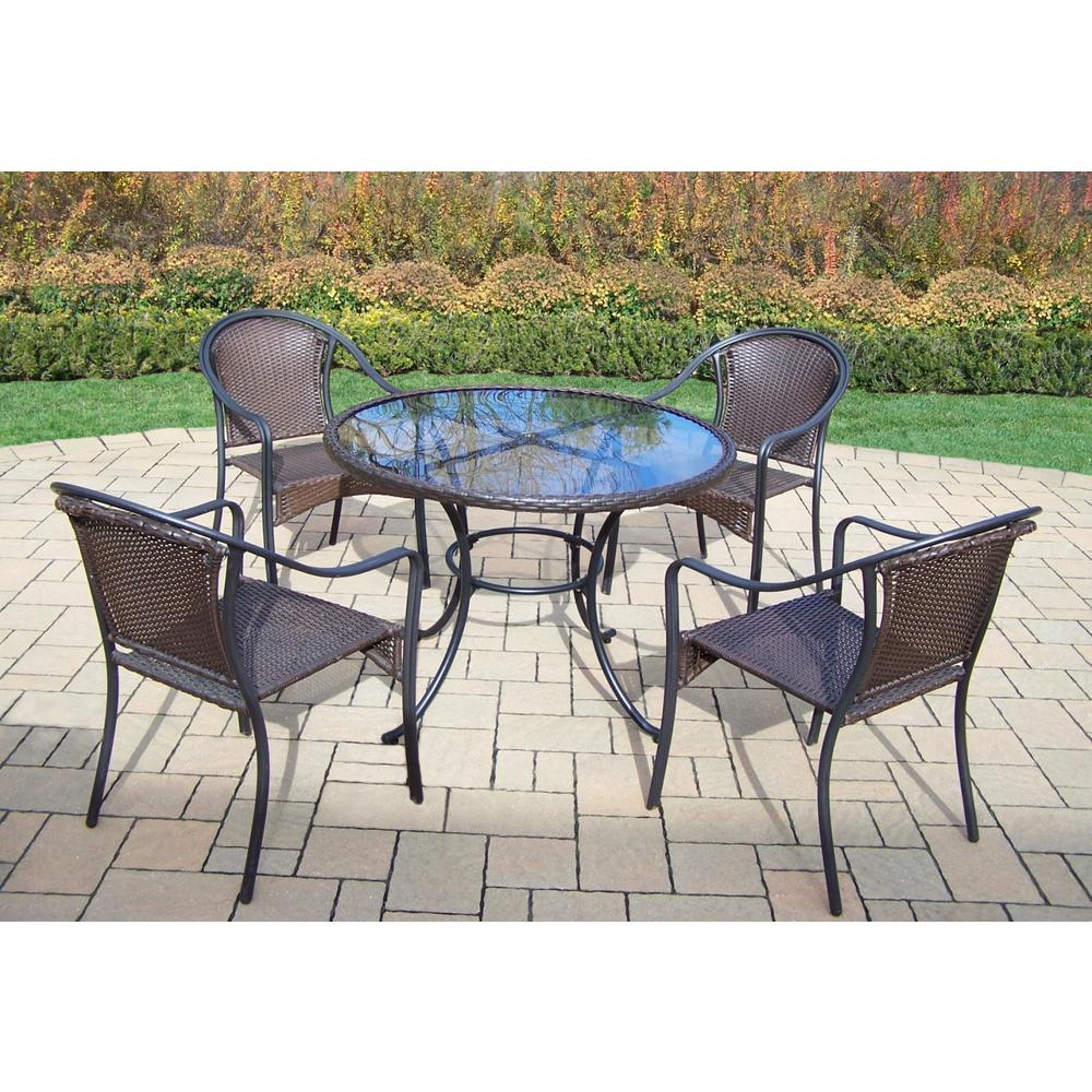 5-Piece Wicker Outdoor Dining Set with Oatmeal Cushions