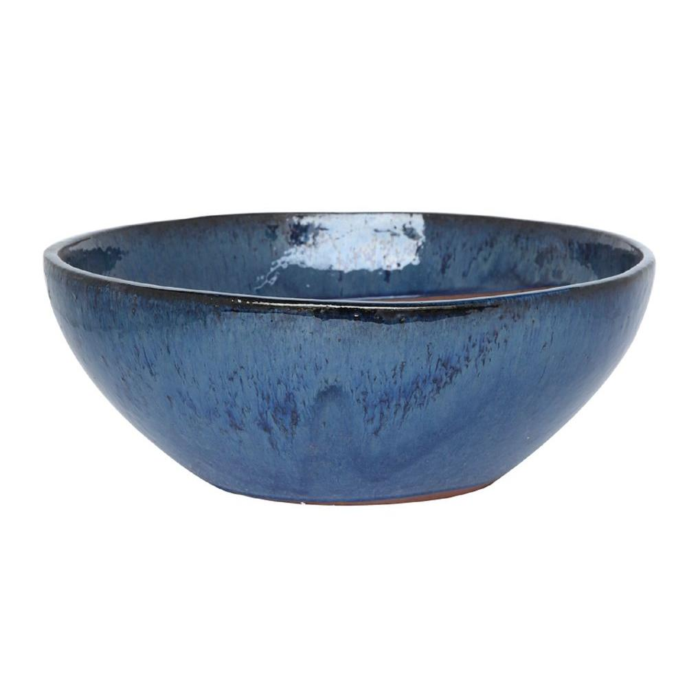 26 in. Imperial Blue Stoneware Sandhal Low Bowl