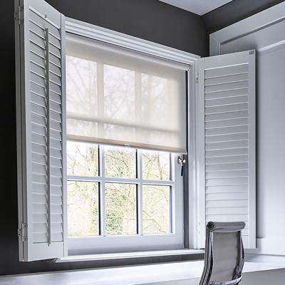 Cut-to-Width Ivory White Fabric Solar Cordless Roller Shade - 30 in. W x 72 in. L
