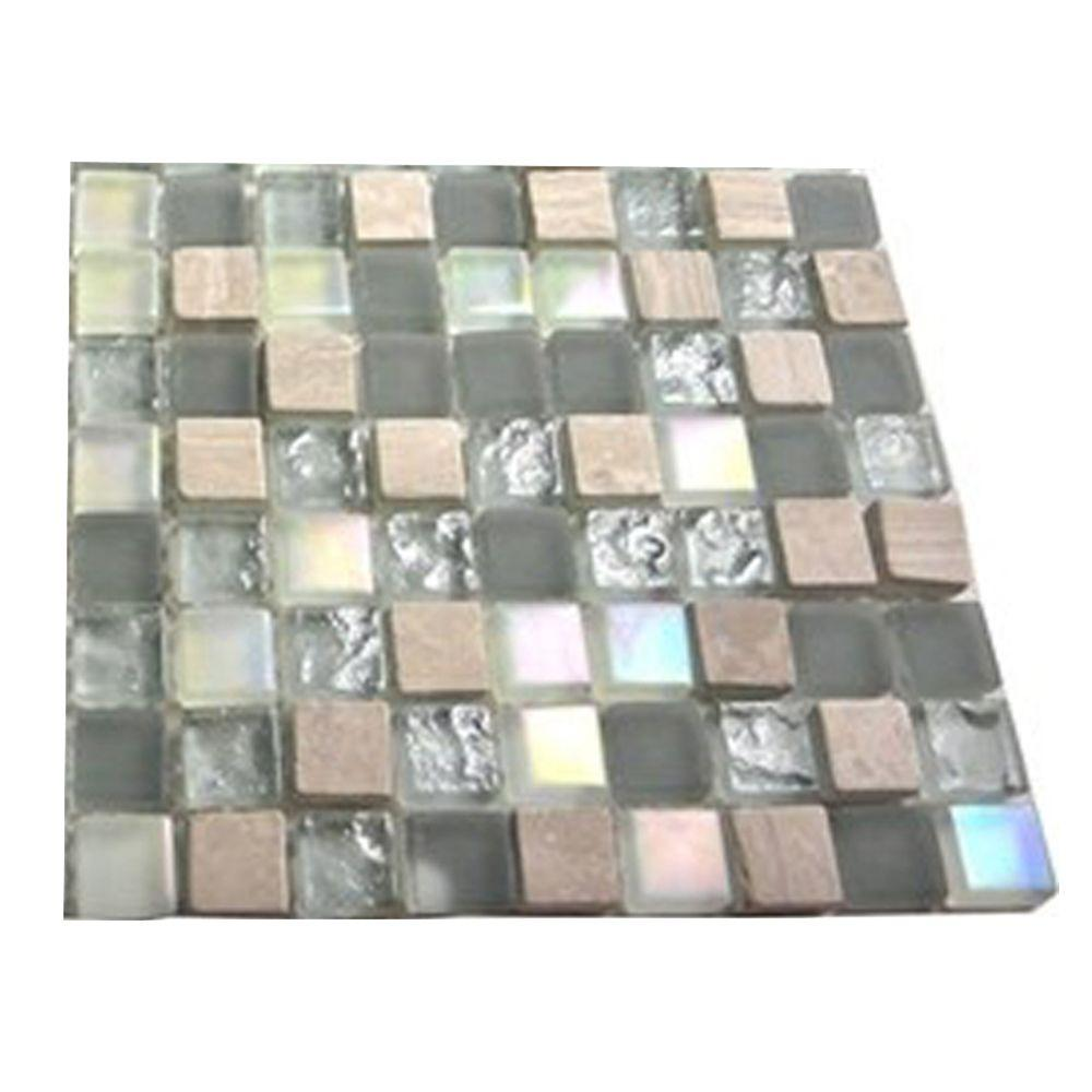 Splashback Tile Galaxy Blend 1/2 in. x 1/2 in. Marble and Glass Tile Squares - 6 in. x 6 in. Floor and Wall Tile Sample
