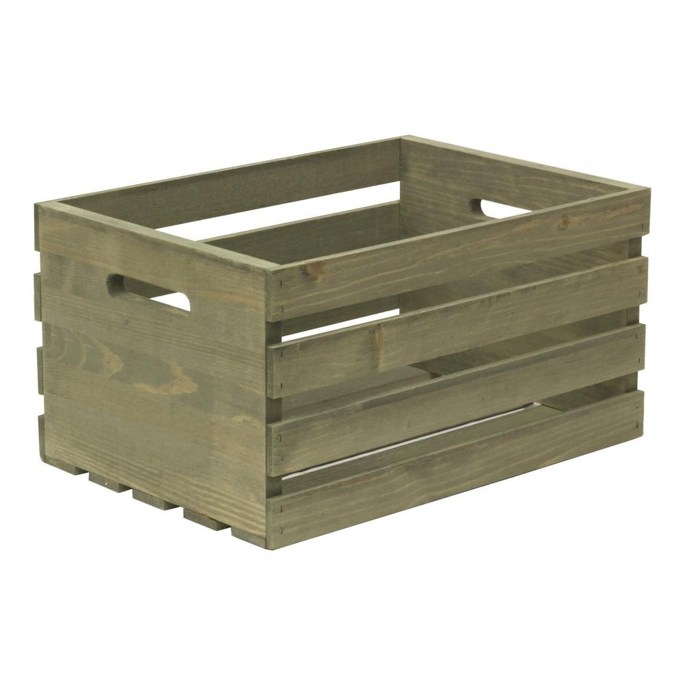 Crates and Pallet Large Weathered Gray Wood Crate-67520 - The Home ...