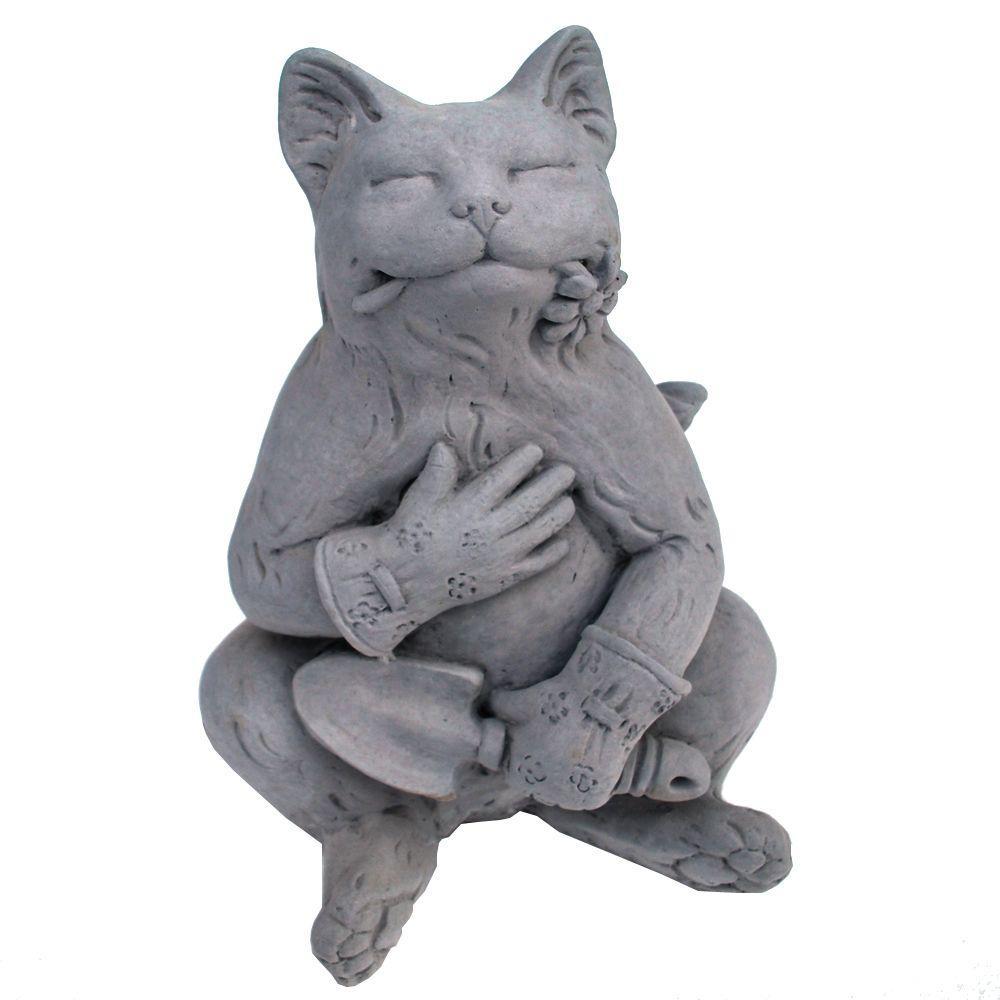 Cast Stone Gardening Cat Statue Antique Gray