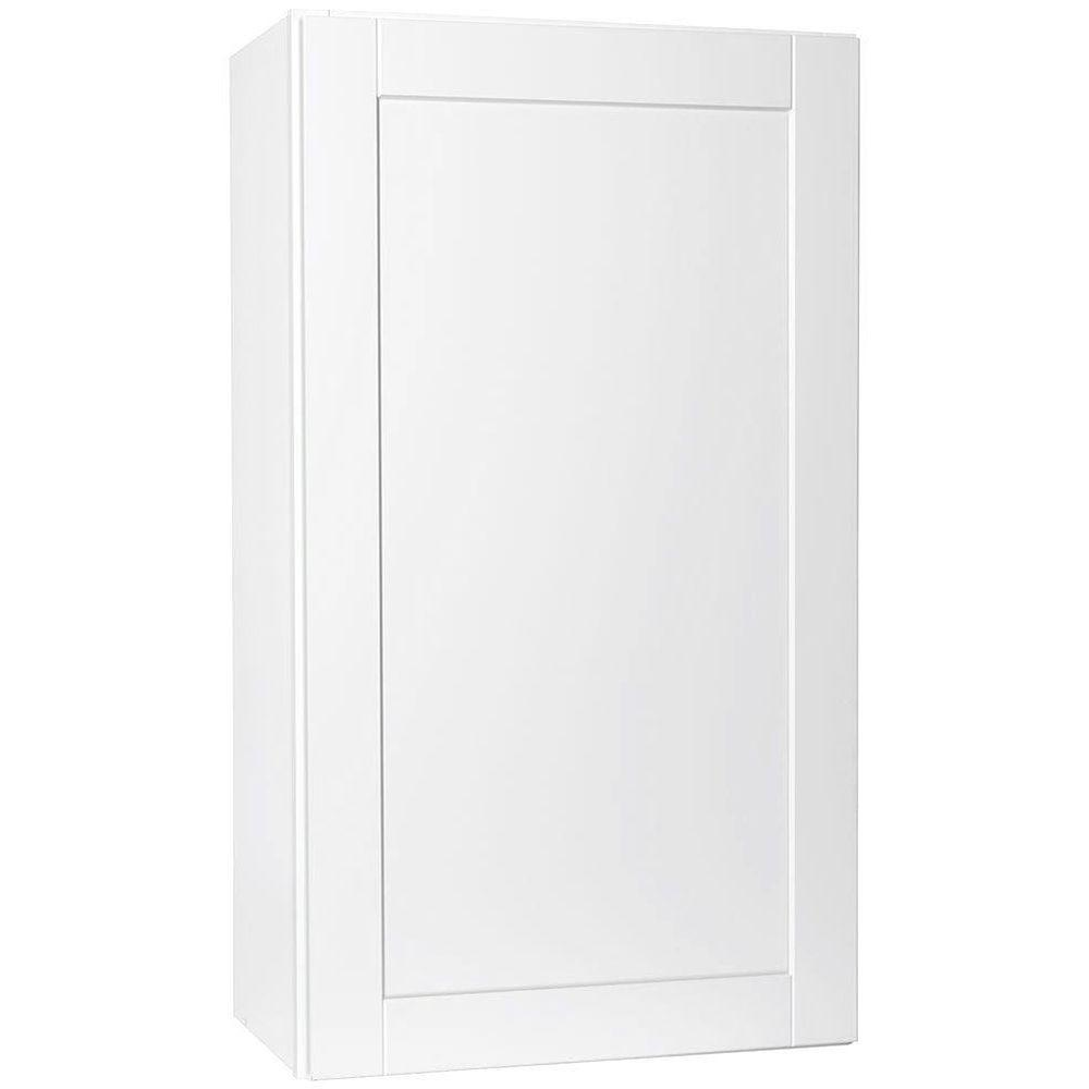 H&ton Bay Shaker Assembled 24x42x12 in. Wall Kitchen Cabinet in Satin White  sc 1 st  The Home Depot : shaker wall cabinet - Cheerinfomania.Com
