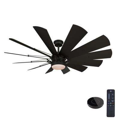 Trudeau 60 in. LED Matte Black Ceiling Fan with Light and Remote Control works with Google and Alexa