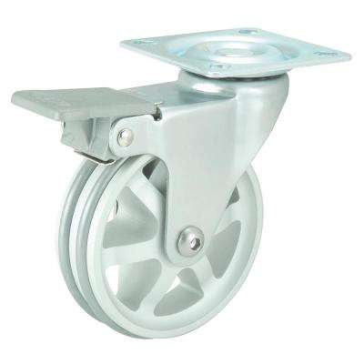 2-15/16 in. Aluminum Swivel with Brake Plate Caster, 99.2 lb. Load Rating