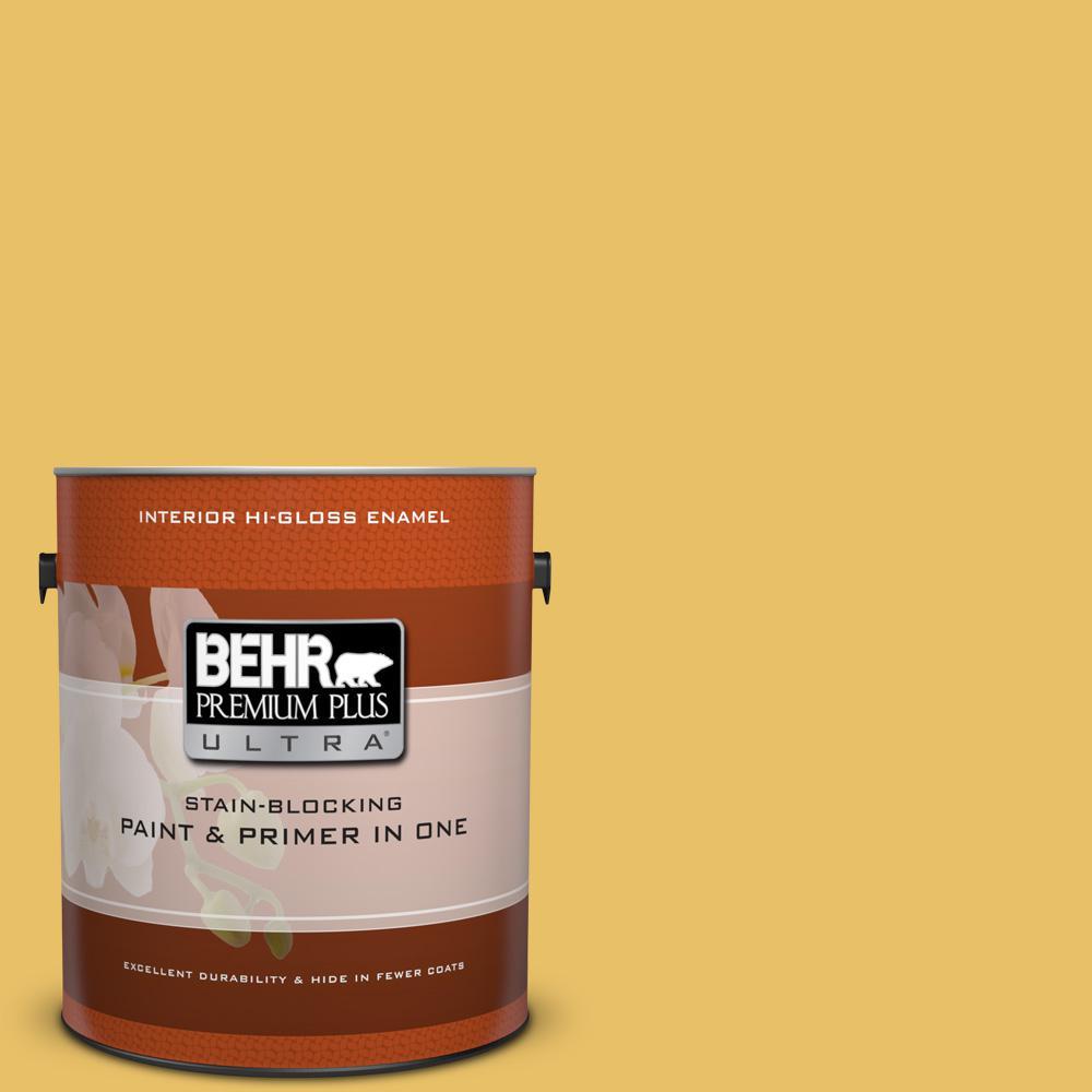 1 gal. #360D-5 Golden Chalice Hi-Gloss Enamel Interior Paint