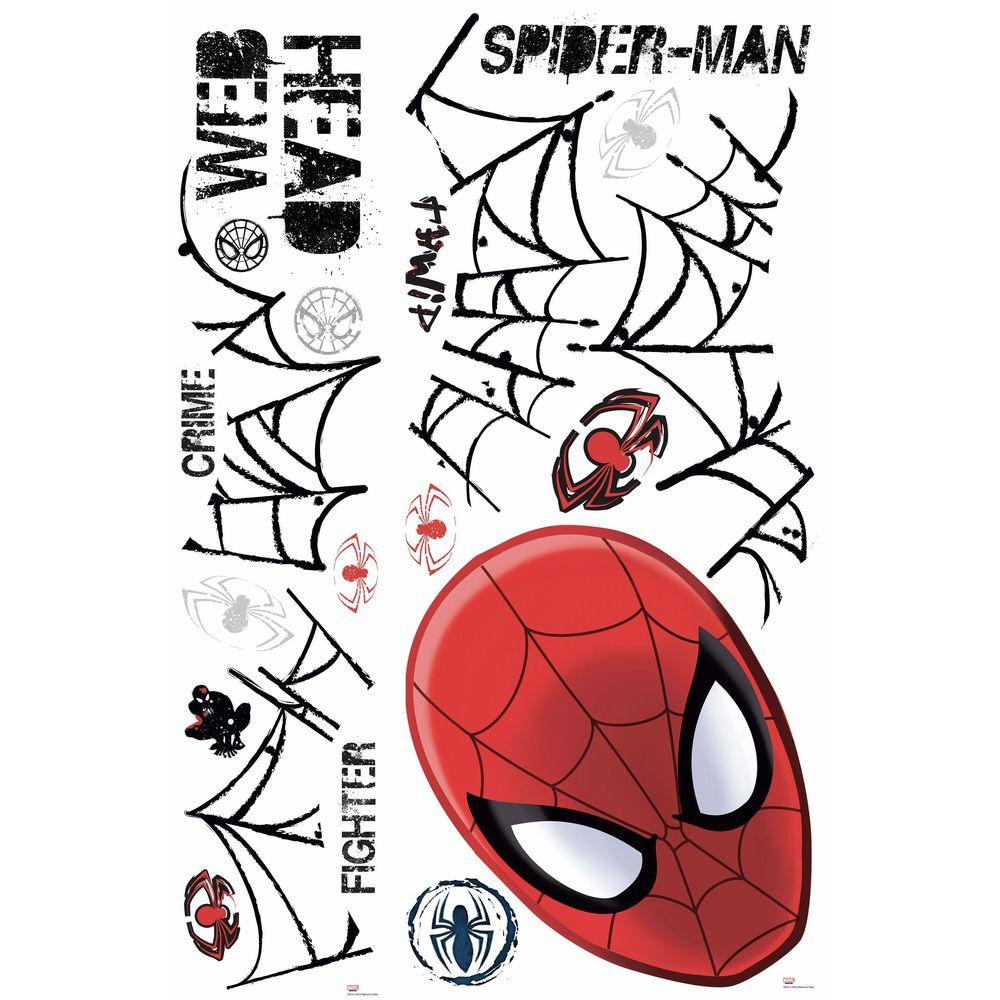 RoomMates 5 in. x 19 in. Ultimate Spider-Man Web Head Peel and Stick Wall Decals