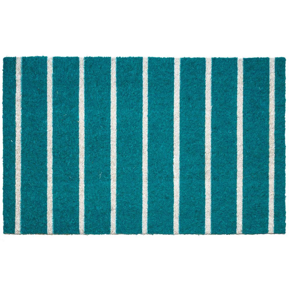 Entryways Teal Stripes 17 In. X 28 In. Non-Slip Coir Door