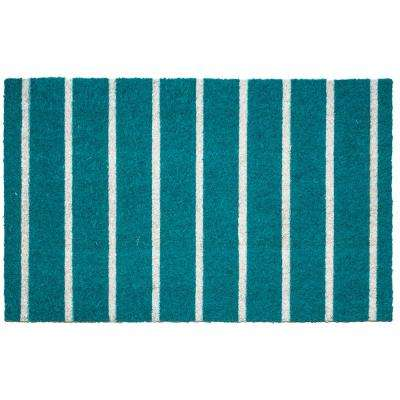 Teal Stripes 17 in. x 28 in. Non-Slip Coir Door Mat