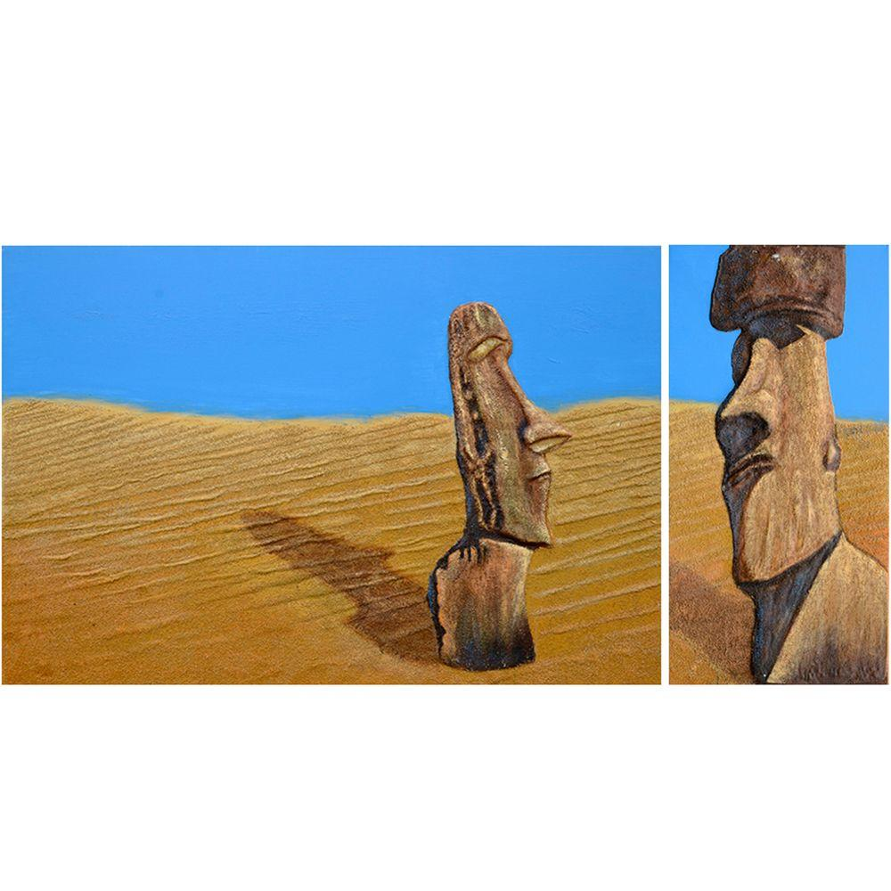 """Yosemite Home Decor 31 in. x 63 in. """"Stranded"""" Hand Painted Canvas Wall Art"""
