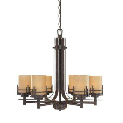 Mission Hills Collection 6-Light Warm Mahogany Hanging Chandelier