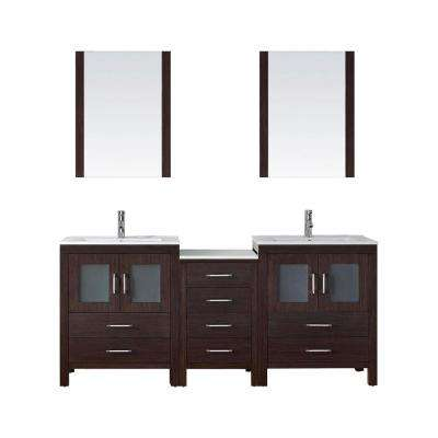 Dior 74 in. W Bath Vanity in Espresso with Ceramic Vanity Top in White with Square Basin and Mirror and Faucet