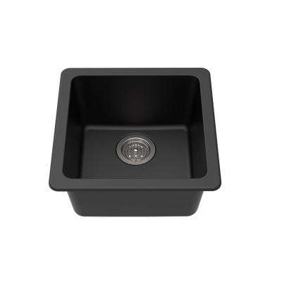 Dual Mount Granite Composite 16-5/8 in. L x 16-5/8 in. L x 8 in. Single Bowl Kitchen Bar Sink in Black