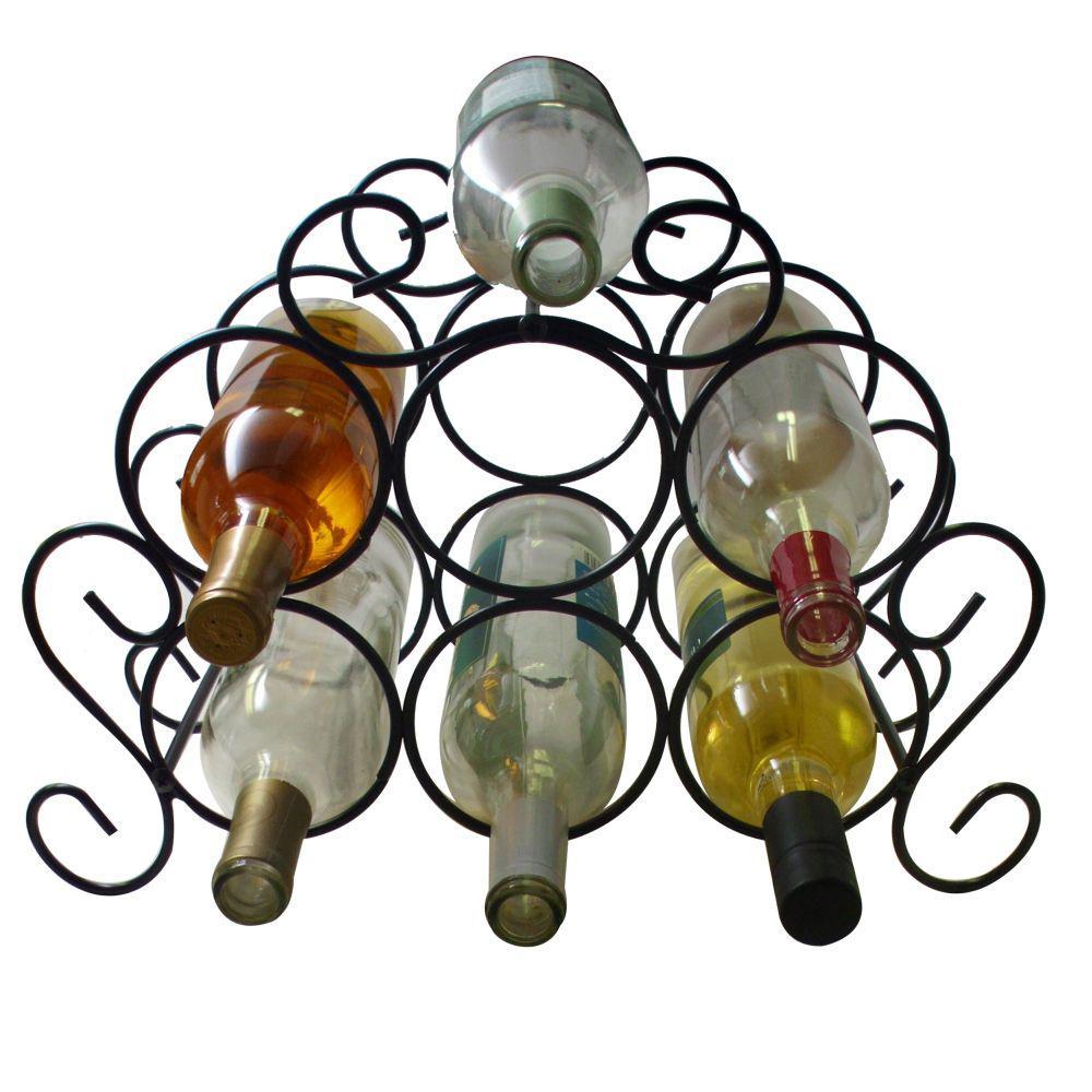 Southern Homewares 7-Bottle Black Minuet Wine Rack