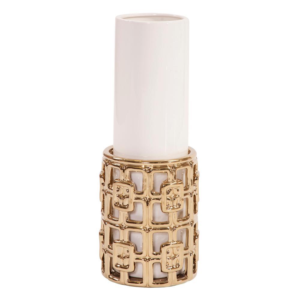 Gold Lattice Base Ceramic Cylinder Decorative Vase Large