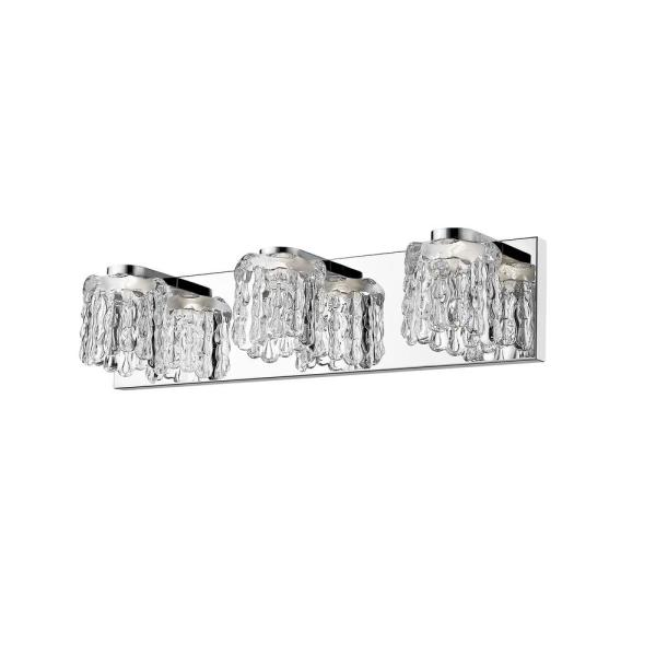Wolter 40-Watt Equivalent Chrome Integrated LED Bath Light with Clear Glass Shade