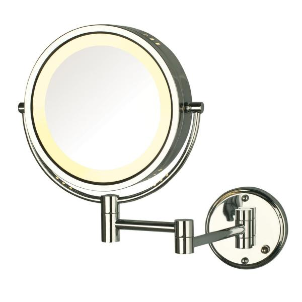 Jerdon 8.5 in. Lighted Wall Makeup Mirror in Bright Brass, Corded-HL75G -  The Home DepotThe Home Depot