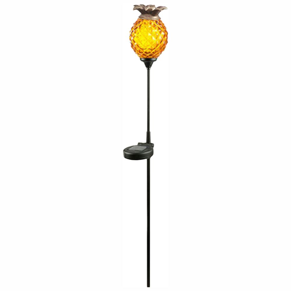 detailed look c7d34 c1373 Hampton Bay Solar Orange Outdoor Integrated LED Landscape Path Light with  Glass Pineapple
