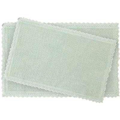 Reversible Crochet Beaded 17 in. x 24 in./20 in. x 34 in. Bath Rug Set, Aqua