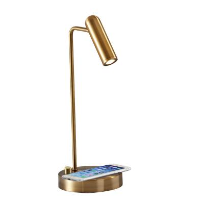 Kaye 16.5 in. Antique Brass LED Desk Lamp with Qi Wireless Charging